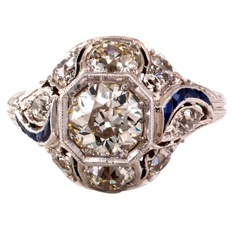 1920s Art Deco 1.00 Carat Diamond Platinum Ring