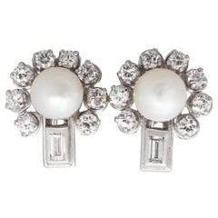 Vintage 1.04 ct Diamond and Pearl White Gold Stud Earrings