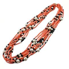 Jona Coral Pearl Onyx Multi Strand Necklace