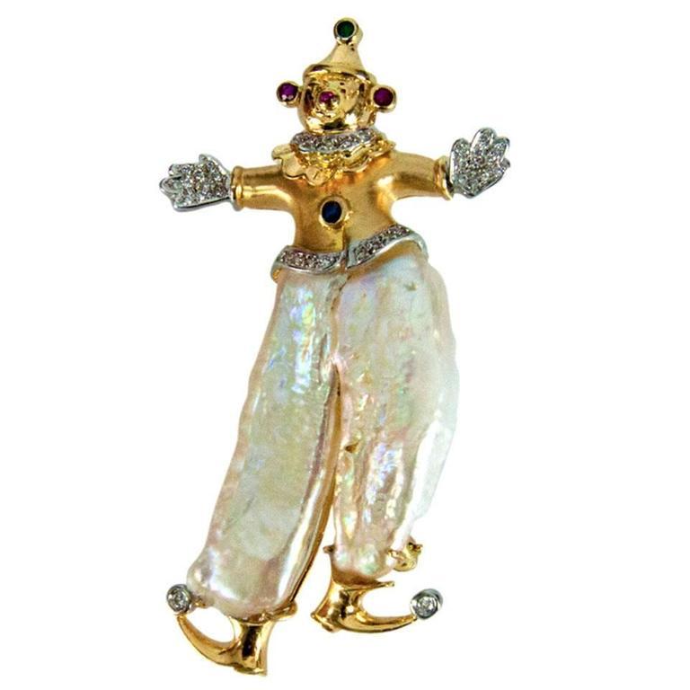 Pearl Multi-Gem Gold Clown Pin Pendant For Sale