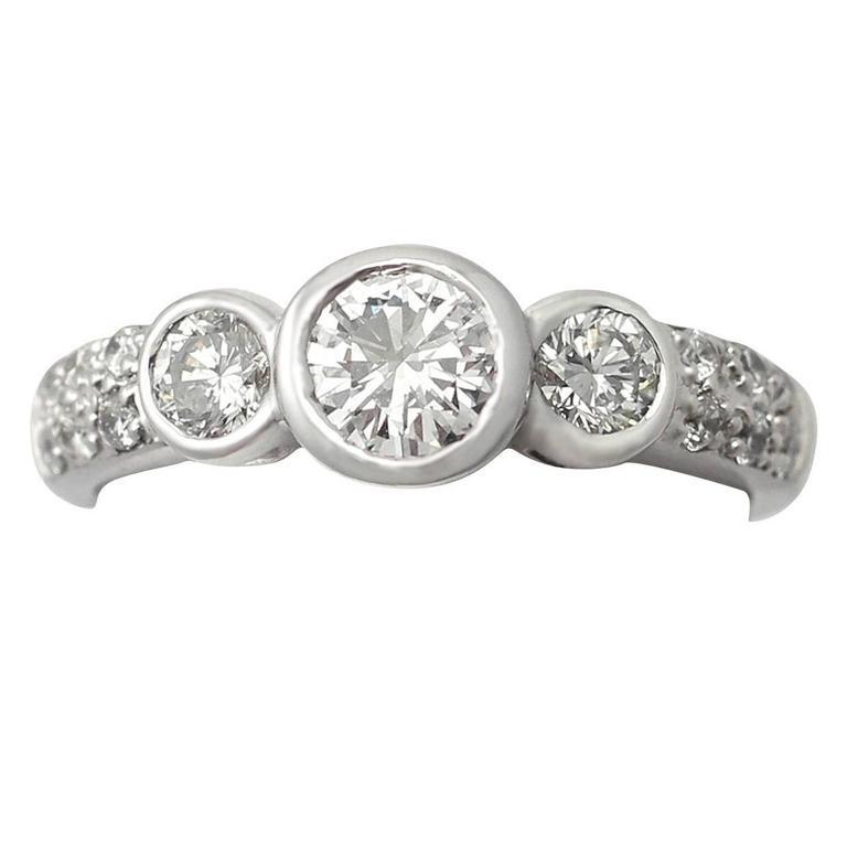 0.95Ct Diamond and 18k White Gold Trilogy Ring - Vintage Circa 1980
