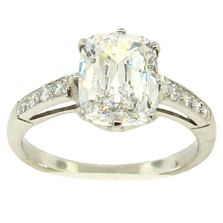 Cushion Cut Diamond Platinum Ring, 2.38 Carat D VVS2 GIA