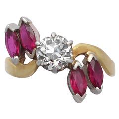 1.05 Carat Diamond & Ruby Yellow Gold Cocktail Ring