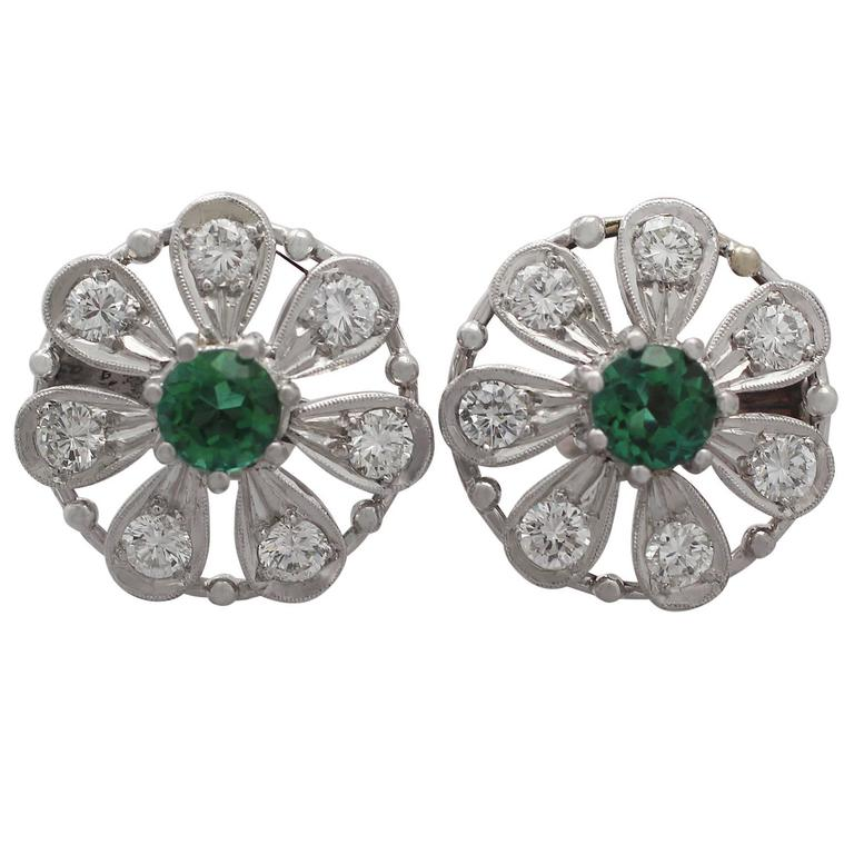 0.80 ct Tourmaline and 0.80 ct Diamond, 14k White Gold Earrings 1
