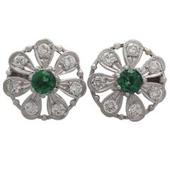 0.80 ct Tourmaline and 0.80 ct Diamond, 14k White Gold Earrings