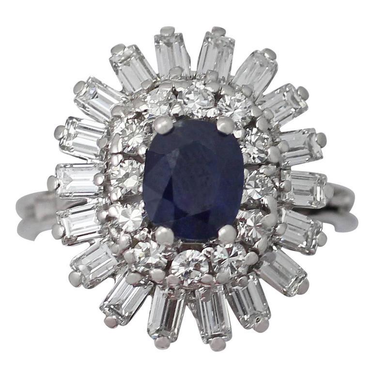 1970s 1.25 Carat Sapphire & 1.15 Carat Diamond White Gold Cocktail Ring