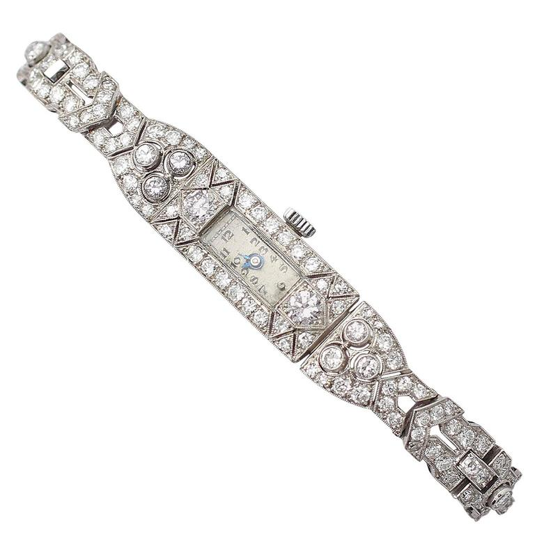 6.70Ct Diamond & Platinum Cocktail Watch - Art Deco Style - Vintage Circa 1940 1