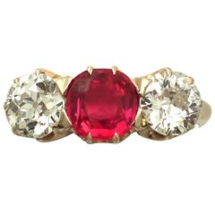 1900s 1.10 Carat Diamond and Synthetic Ruby, 14 Karat Yellow Gold Trilogy Ring