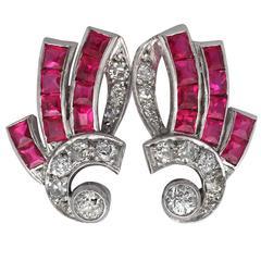 1940s 1.00 Carat Ruby and 0.48 Carat Diamond,14k White Gold Earrings