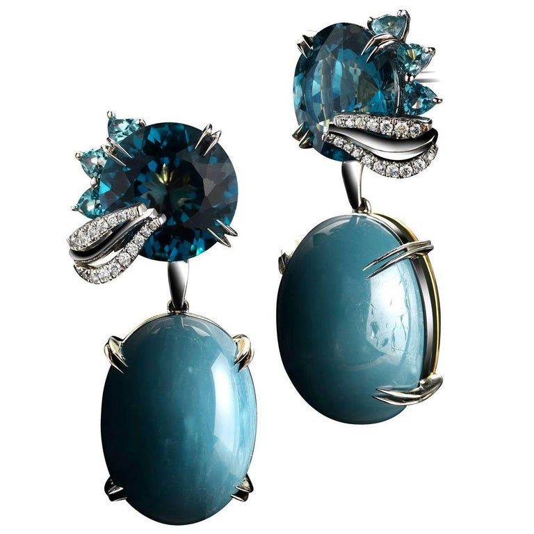 Alexandra Mor London Blue Topaz Aquamarine Cabochon Medi Leaf Dangling Earrings For Sale