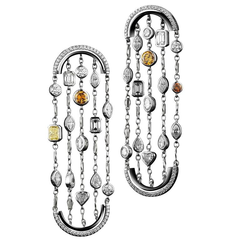 Alexandra Mor Sautoir Arched Earrings with White and Natural Color Diamonds For Sale