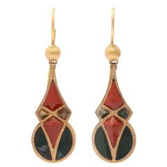 Antique Victorian Geometric Scottish Agate Earrings, circa 1860-1880
