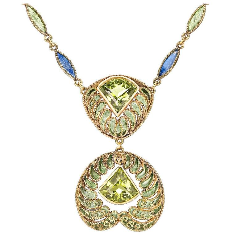 Louis Comfort Tiffany Plique-a-Jour Peridot Gold Necklace For Sale