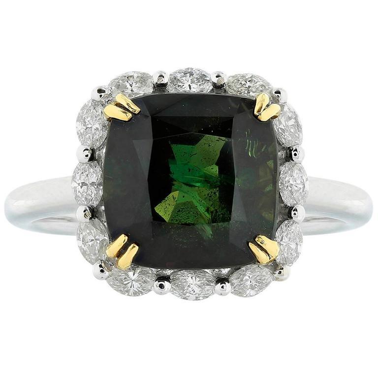 6.73 Carat Alexandrite Diamond Platinum Cluster Ring