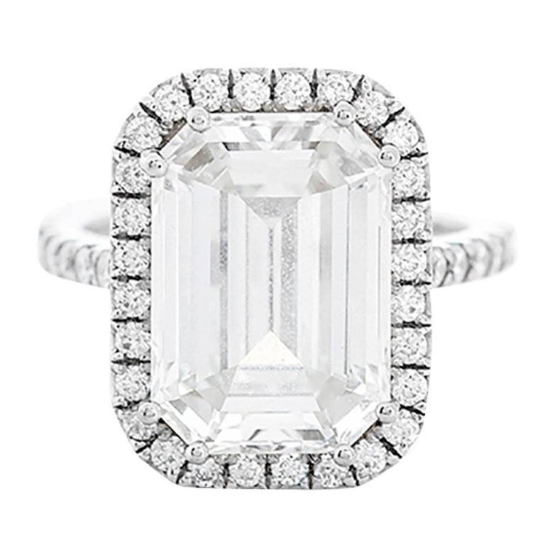 Amazing 7.45 ct. Emerald Cut GIA Diamond White Gold Wedding Ring 1