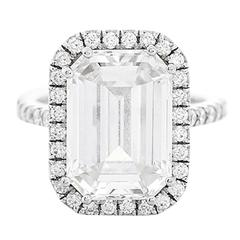 Amazing 7.45 ct. Emerald Cut GIA Diamond White Gold Wedding Ring