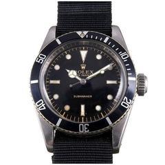 Rolex Stainless Steel Submariner 4 Line Ghost Dial Big Crown Wristwatch Ref 6538