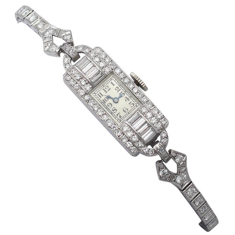 2.24Ct Diamond Ladies Cocktail Watch in Platinum - Antique Circa 1930