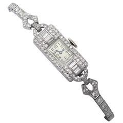 2.24 Carat Diamond Ladies Cocktail Watch in Platinum Antique, circa 1930
