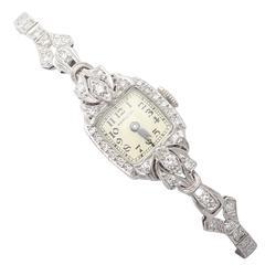 0.82Ct Diamond Hamilton Cocktail Watch in Platinum - Art Deco Style - Vintage