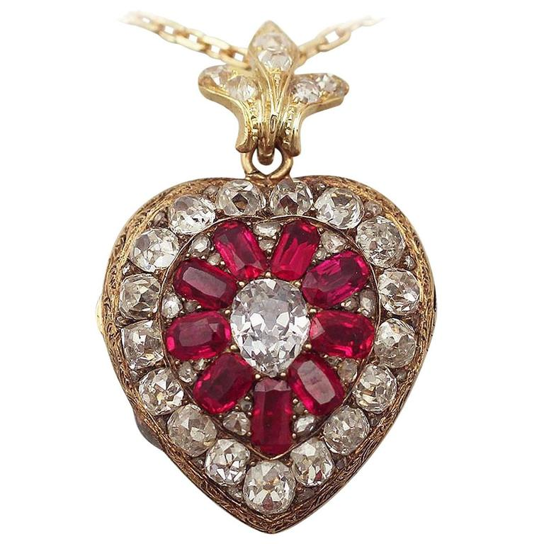 1880s Synthetic Ruby 4.55 Carats Diamonds Gold Pendant Locket 1