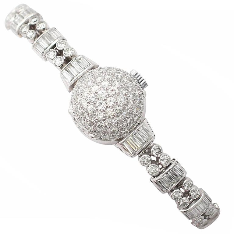 Admina Lady's Platinum Diamond Manual Wind Wristwatch