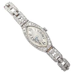 2.02Ct Diamond and Platinum Ladies Cocktail Watch - Antique Circa 1930