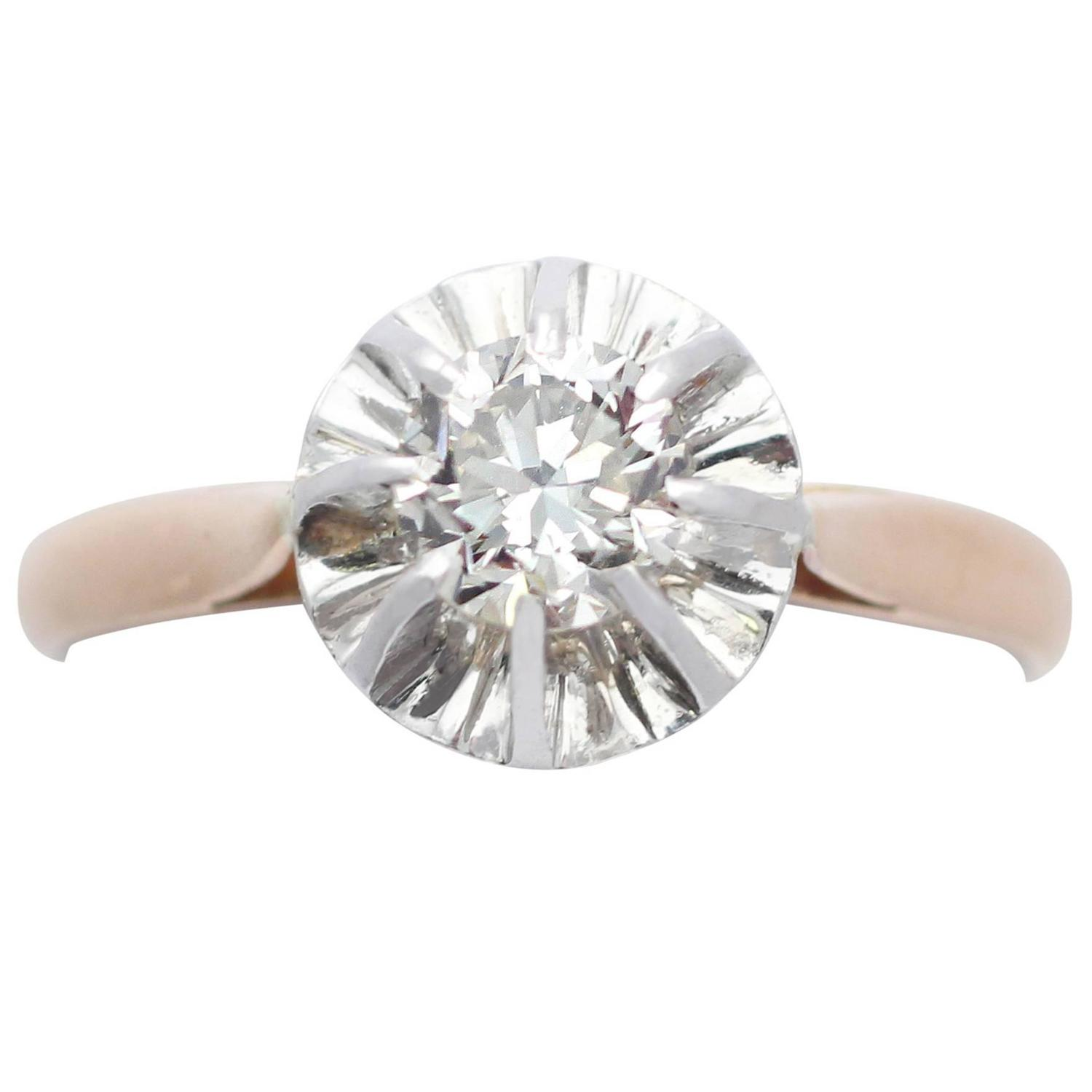 0 54Ct Diamond and 18k Rose Gold Solitaire Ring Vintage French