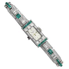 4.10Ct Diamond & 0.72Ct Emerald, Platinum Cocktail Watch - Art Deco - Vintage