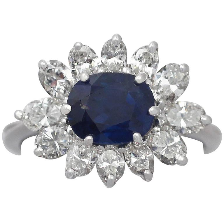 1970s 1.85 Carat Sapphire and 1.56 Carat Diamond White Gold Cocktail Ring