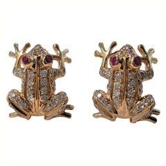 Jona Ruby White Diamond 18 Karat Rose Gold Frog Earrings