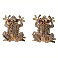 Jona Ruby White Diamond 18 Karat Rose Gold Frog Earrings