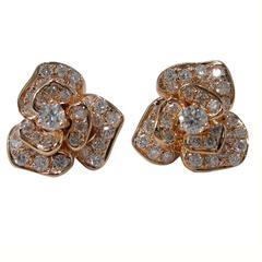 Jona Diamond Gold Roses Stud Earrings