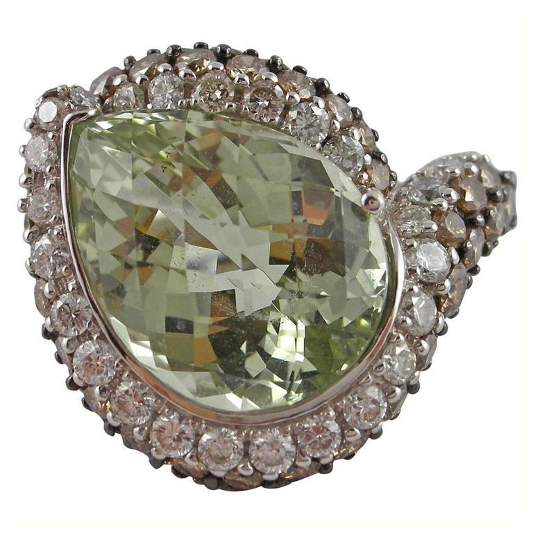 Jona Light Green Beryl White and Brown Diamond 18k White Gold Ring