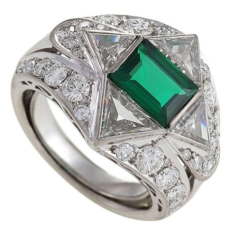 1950s Emerald Diamond and Platinum Ring For Sale