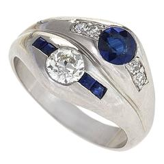 1930s Art Deco Sapphire Diamond and Platinum Double Ring