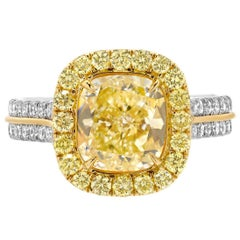 Yellow Diamond Ring 2.40 Carat GIA Certified