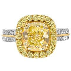 2.40 Carat GIA Cert Fancy Light Yellow Diamond Gold Platinum Engagement Ring