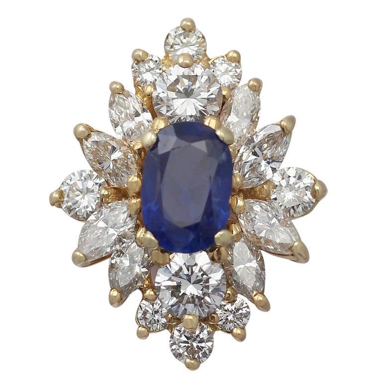 1.42 Carat Sapphire and 1.82 Carat Diamond Yellow Gold Cluster Ring