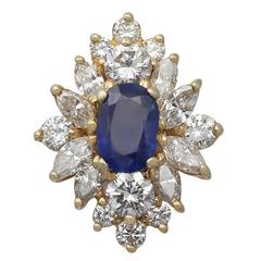 1.42 Carat Sapphire and 1.82 Carat Diamond Yellow Gold Cluster Ring