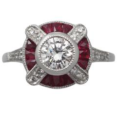 1940s Ruby and Diamond Platinum Cocktail Ring