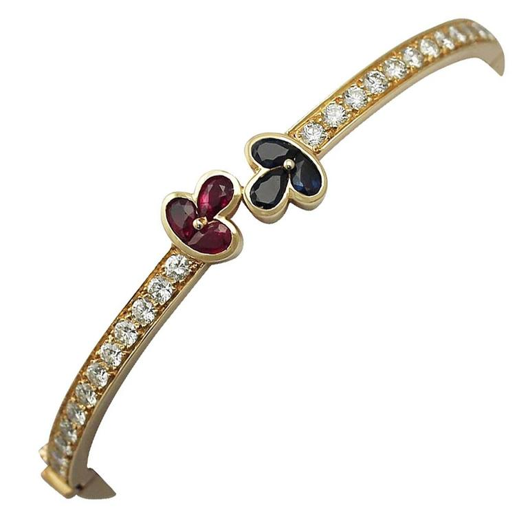 1.05Ct Ruby, 0.98Ct Sapphire & 2.16Ct Diamond, 18k Yellow Gold Bangle - Vintage For Sale