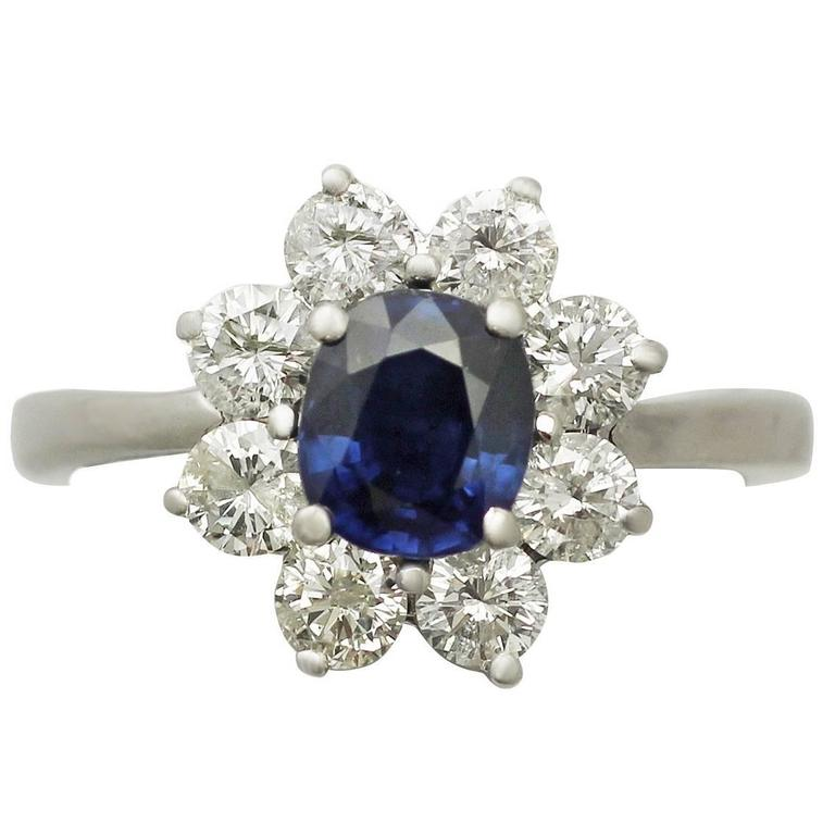 1980s 1.48 Carat Sapphire and 1.45 Carat Diamond White Gold Cocktail Ring