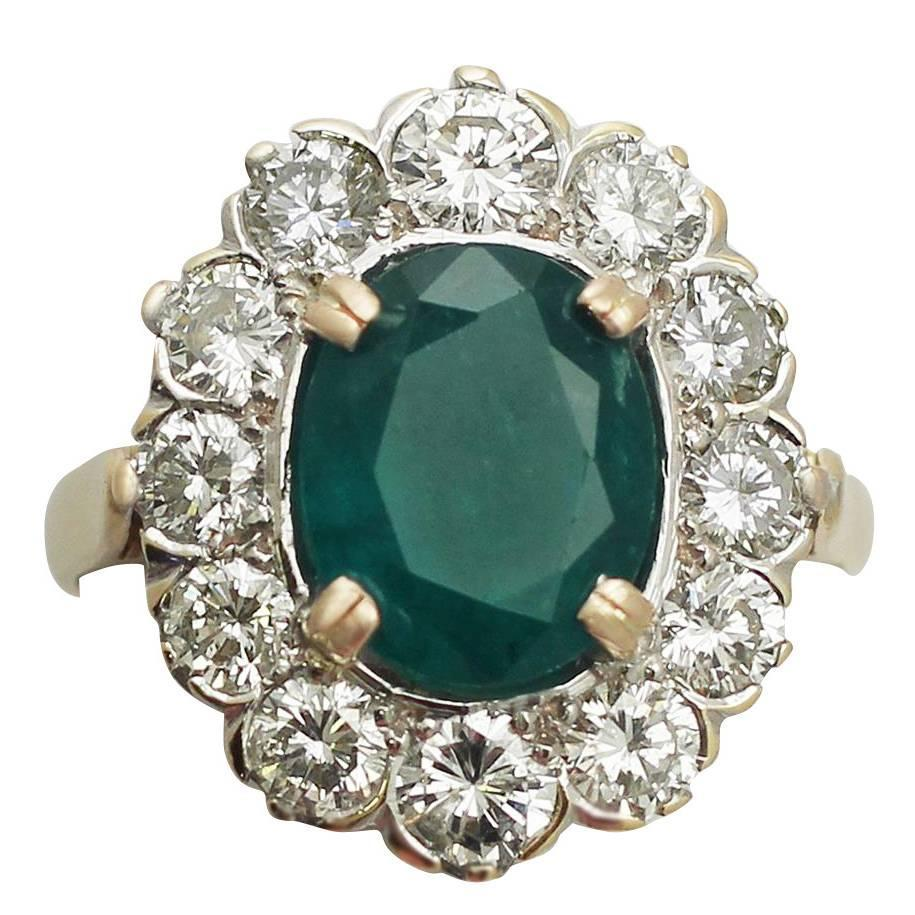 290ct Emerald And 238ct Diamond, 18k Yellow Gold Cluster Ring  Vintage  French For Sale At 1stdibs