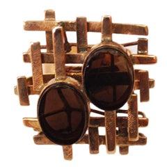 Modernist Quartz Gold Lattice Design Statement Ring Estate Fine Jewelry