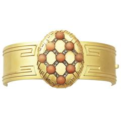Coral and 0.33Ct Diamond, 18k Yellow Gold Bangle - Antique Victorian
