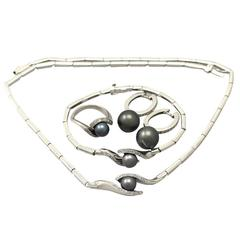 Black Pearl & 0.46Ct Diamond, 18k White Gold Jewellery Set - Contemporary