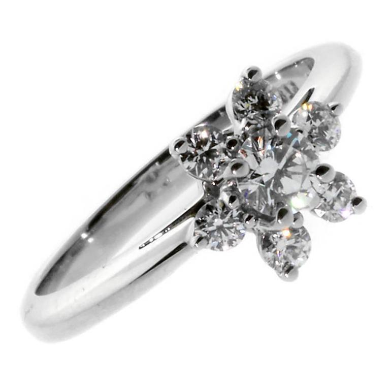 Tiffany & Co. Diamond Platinum Flower Ring For Sale