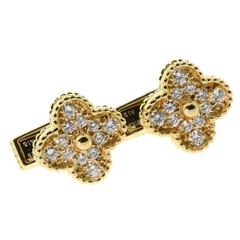 Van Cleef & Arpels Diamond Gold Alhambra Cufflinks