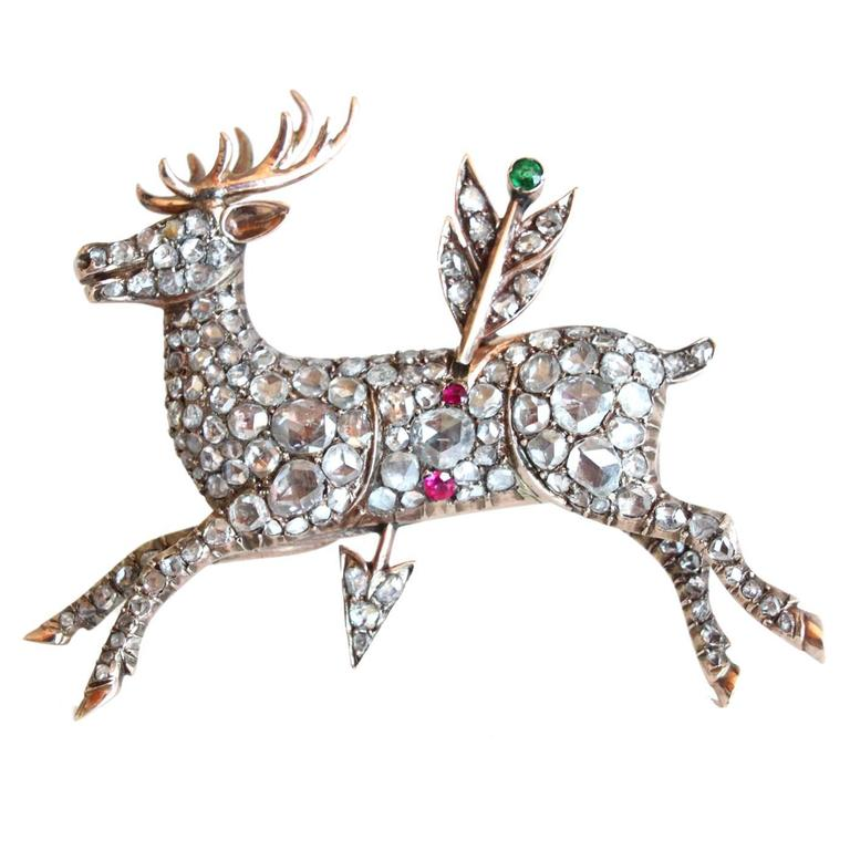 1870s Antique Diamond Deer Stag and Arrow Brooch 1